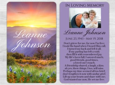 Memorial Prayer Card 1004