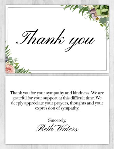 Funeral Program Thank You Card 1006