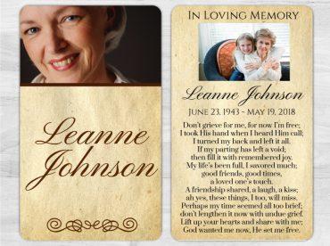 Memorial Prayer Card 1008