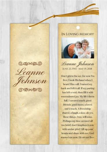 Funeral Program Bookmark 1008