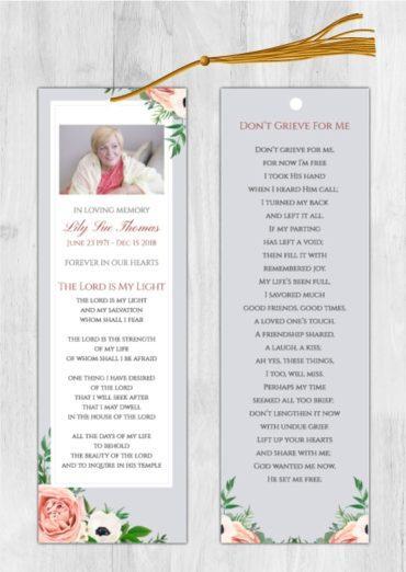 Funeral Program Bookmark 1070