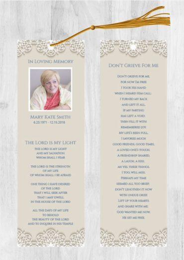 Funeral Program Bookmark 1078