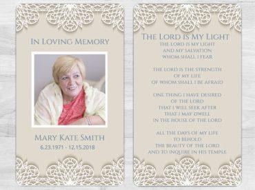 Memorial Prayer Card 1078