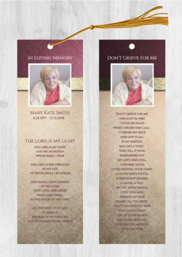 Funeral Program Bookmark 1079