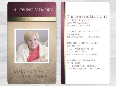 Memorial Prayer Card 1079
