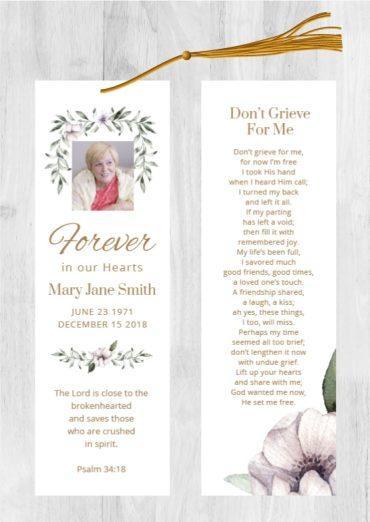 Funeral Program Bookmark 1081