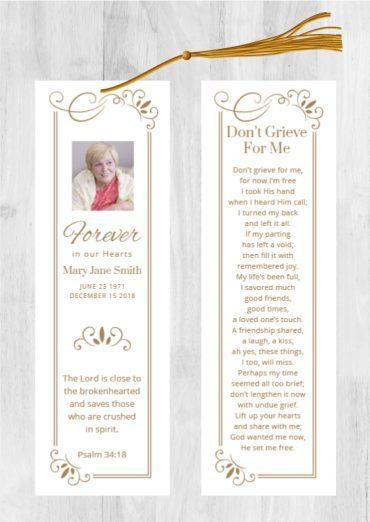 Funeral Program Bookmark 1082