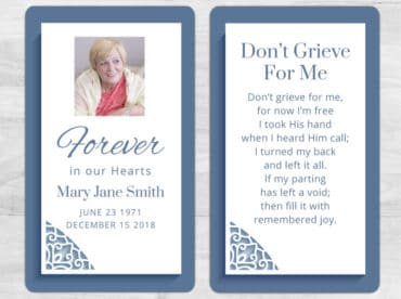 Memorial Prayer Card 1083