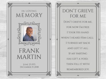 Memorial Prayer Card 1084