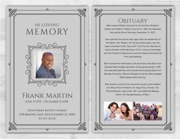 No Fold Memorial Funeral Program 1084