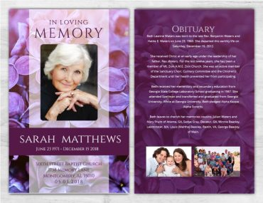 No Fold Memorial Funeral Program 1086