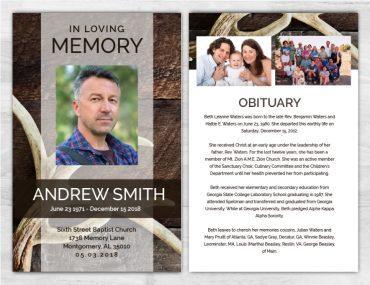 No Fold Memorial Funeral Program 1087