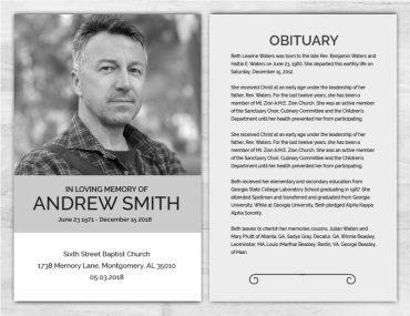 No Fold Memorial Funeral Program 1088