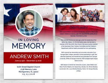 No Fold Memorial Funeral Program 1094
