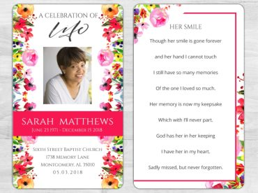 Memorial Prayer Card 1096