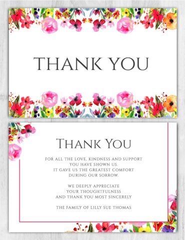 Funeral Program Thank You Card 1096