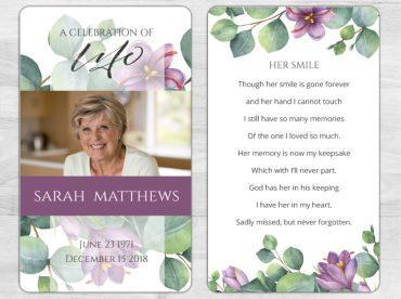 Memorial Prayer Card 1097