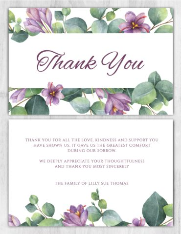 Funeral Program Thank You Card 1097