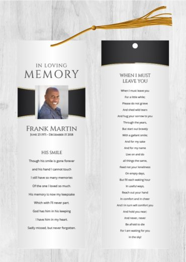 Funeral Program Bookmark 2001