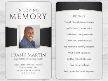 Memorial Prayer Card 2001