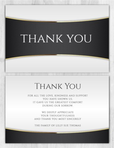 Funeral Program Thank You Card 2001