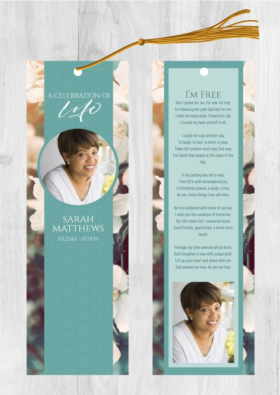 Funeral Memorial Bookmarks For Your Memorial Service