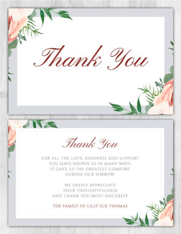 Funeral Program Thank You Card 1070