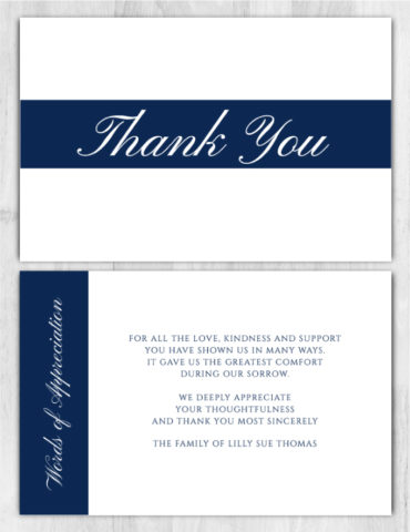 Funeral Program Thank You Card 1072