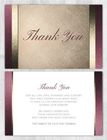 Funeral Program Thank You Card 1079