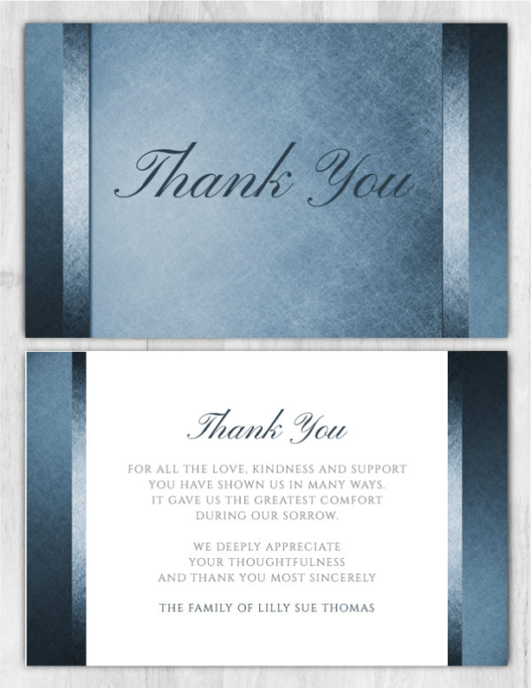 Funeral Program Thank You Card 1080