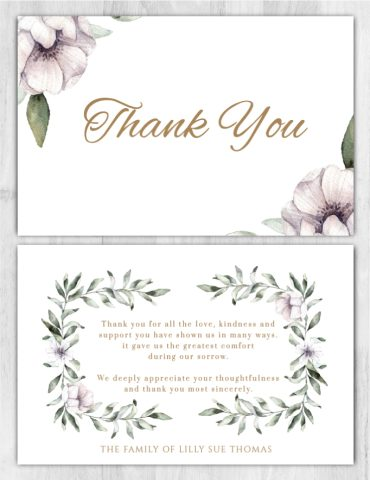 Funeral Program Thank You Card 1081