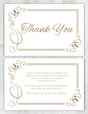 Funeral Program Thank You Card 1082