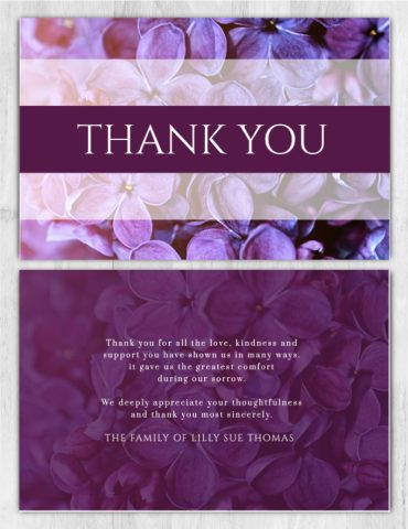 Funeral Program Thank You Card 1086