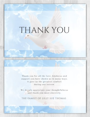 Funeral Program Thank You Card 1089