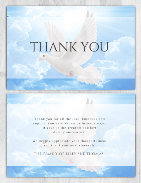 Funeral Program Thank You Card 1090