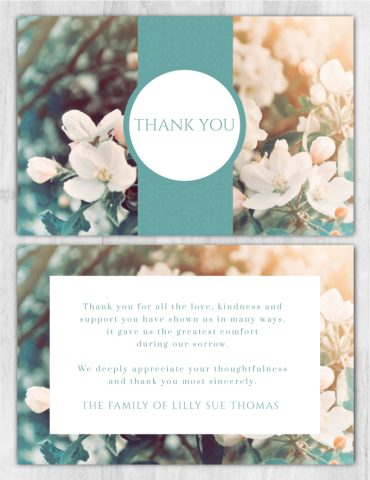 Funeral Program Thank You Card 1098