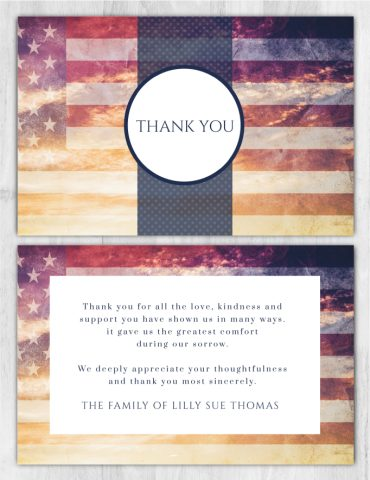 Funeral Program Thank You Card 2015