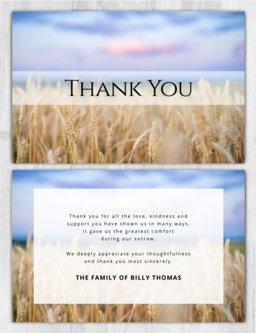 Funeral Program Thank You Card 2027