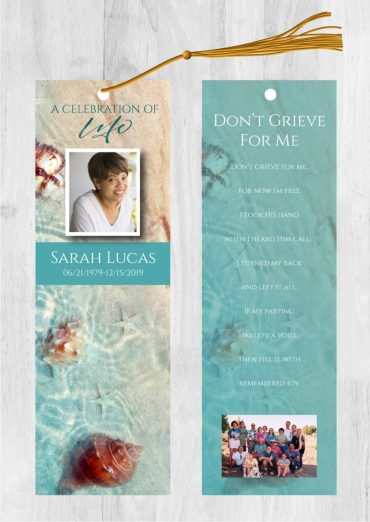 Funeral bookmark 2035