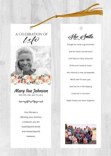 Funeral bookmark 2036