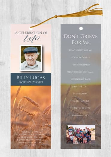 Funeral bookmark 2037