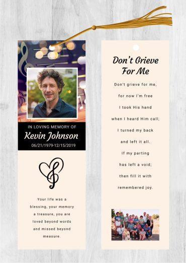 Funeral bookmark 2039