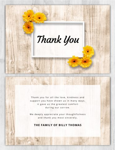 Funeral Program Thank You Card 2049