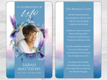 Memorial prayer card 2050