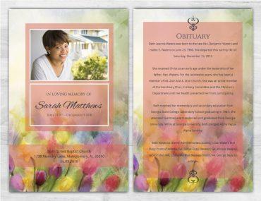 Funeral Program Memorial No Fold 1099