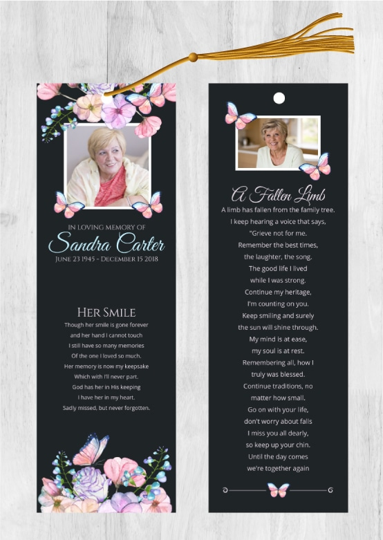 Funeral Memorial Bookmarks To Celebrate A Loved One