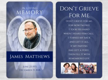 Laminated Memorial Cards To Remember A Loved One