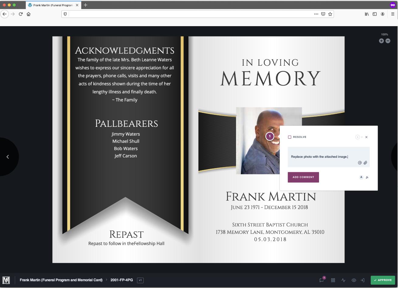 Funeral Program Client View